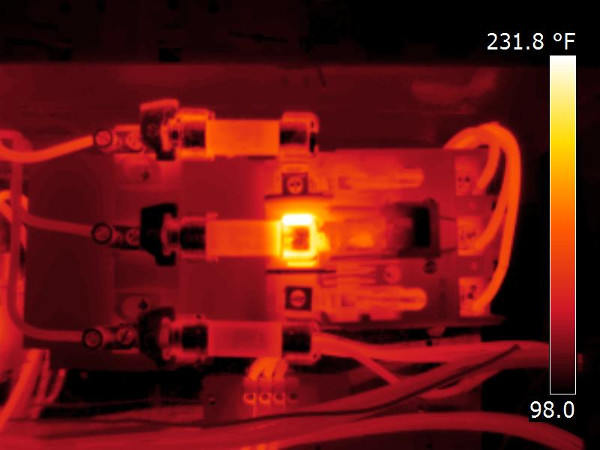Overheated fuse shown with thermal inspection