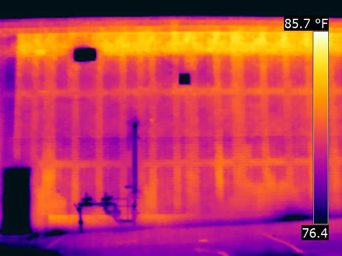 block wall infrared scan with IR camera