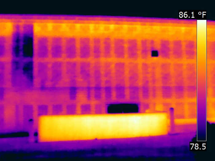 Infrared view of block wall